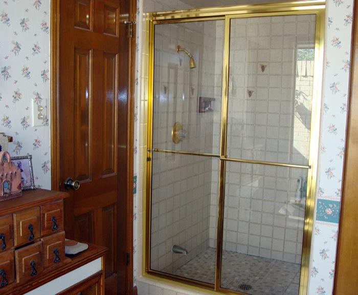 Framed Shower Door Slider: Golden